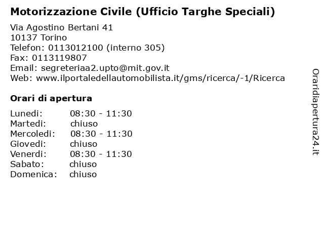 Motorizzazione Civile (Ufficio Targhe Speciali) a Torino: indirizzo e orari di apertura