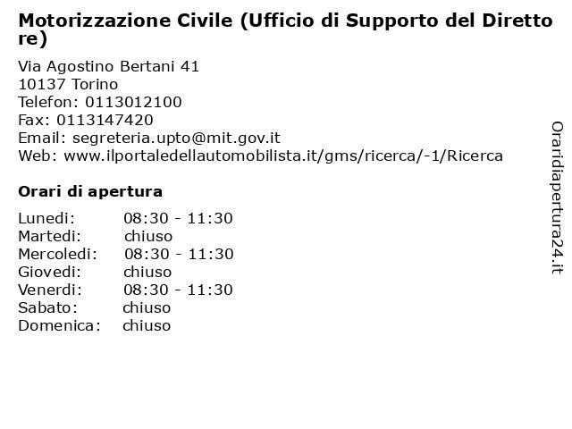 Motorizzazione Civile (Ufficio di Supporto del Direttore) a Torino: indirizzo e orari di apertura