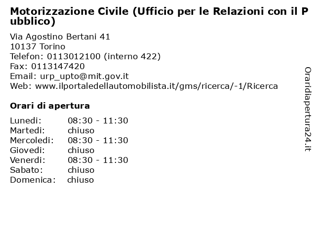 Motorizzazione Civile (Ufficio per le Relazioni con il Pubblico) a Torino: indirizzo e orari di apertura