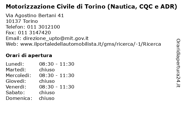 Motorizzazione Civile di Torino (Nautica, CQC e ADR) a Torino: indirizzo e orari di apertura