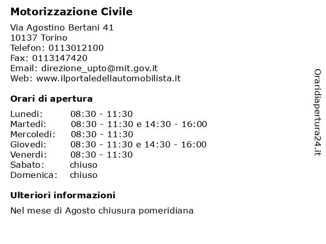 Motorizzazione Civile a Torino: indirizzo e orari di apertura