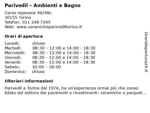 Sae Arredo Bagno Torino.ᐅ Orari Parivedil Ambienti E Bagno Corso Vigevano 46 48c