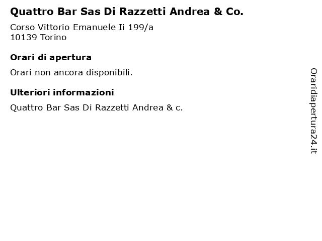 Quattro Bar Sas Di Razzetti Andrea & Co. a Torino: indirizzo e orari di apertura