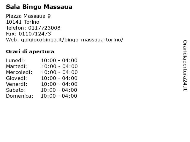 Sala Bingo Massaua a Torino: indirizzo e orari di apertura