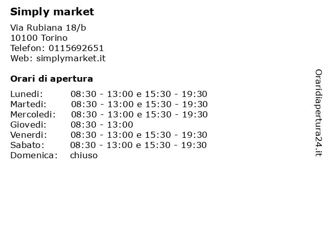 Simply market a Torino: indirizzo e orari di apertura