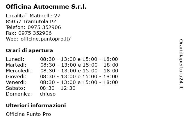 Officina Autoemme S.r.l. a Tramutola PZ: indirizzo e orari di apertura