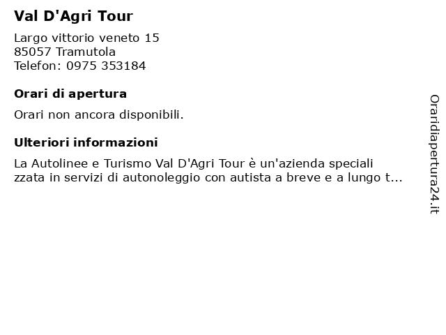 Val D'Agri Tour a Tramutola: indirizzo e orari di apertura