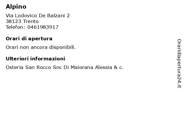 Alpino a Trento: indirizzo e orari di apertura