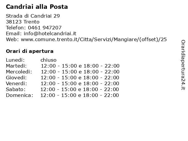 Candriai alla Posta a Trento: indirizzo e orari di apertura