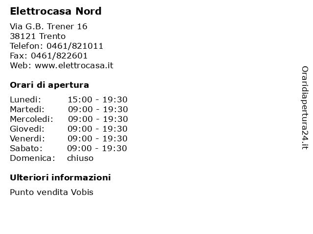 ᐅ Orari Elettrocasa Nord | Via G.B. Trener 16, 38121 Trento