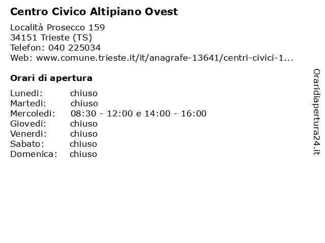 Comune di Trieste (Centro Civico Altipiano Ovest) a Trieste (TS): indirizzo e orari di apertura