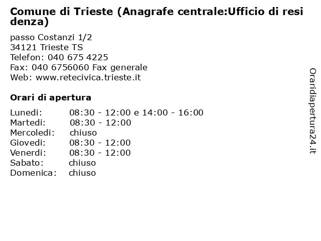 Comune di Trieste (Anagrafe centrale:Ufficio di residenza) a Trieste TS: indirizzo e orari di apertura