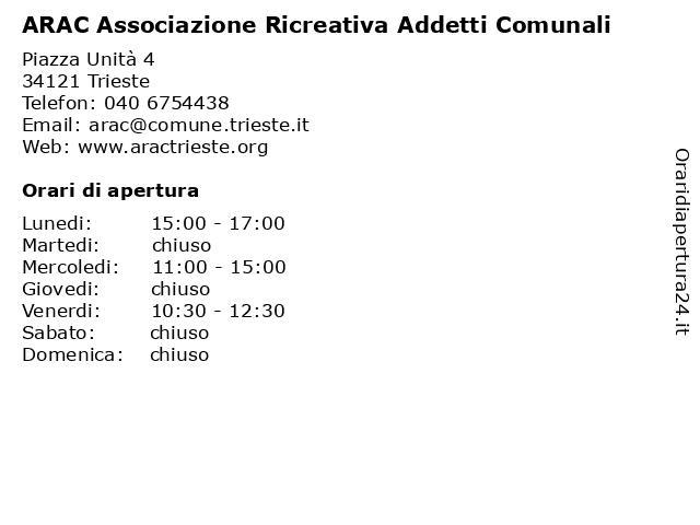ARAC Associazione Ricreativa Addetti Comunali a Trieste: indirizzo e orari di apertura