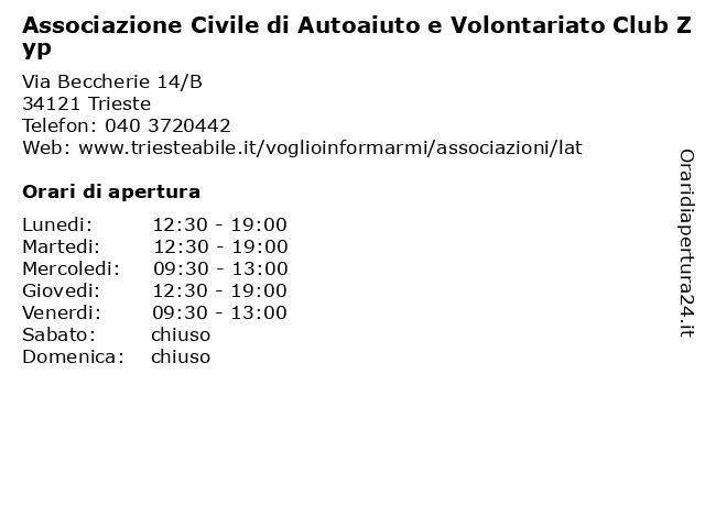 Associazione Civile di Autoaiuto e Volontariato Club Zyp a Trieste: indirizzo e orari di apertura