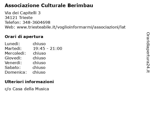 Associazione Culturale Berimbau a Trieste: indirizzo e orari di apertura