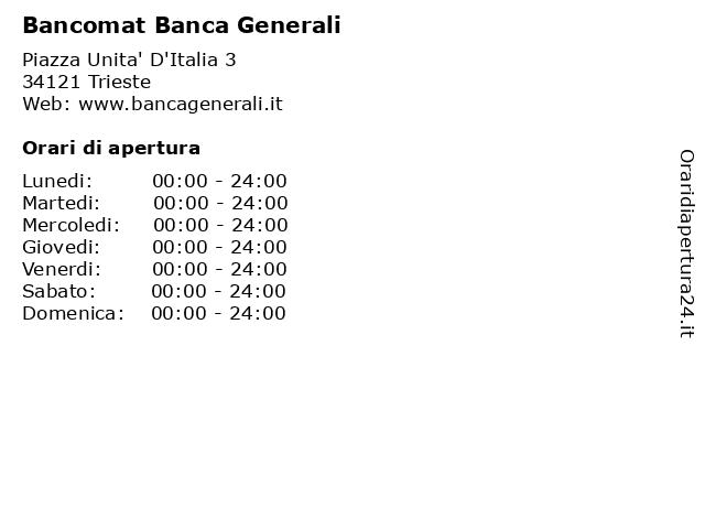 Bancomat Banca Generali a Trieste: indirizzo e orari di apertura