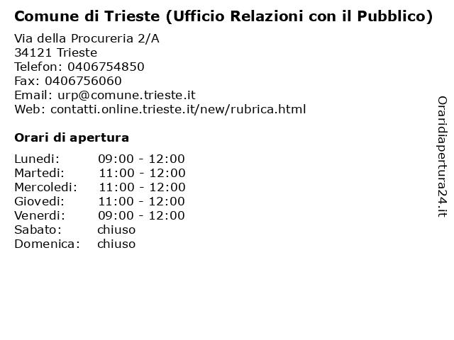 Comune di Trieste (Ufficio Relazioni con il Pubblico) a Trieste: indirizzo e orari di apertura