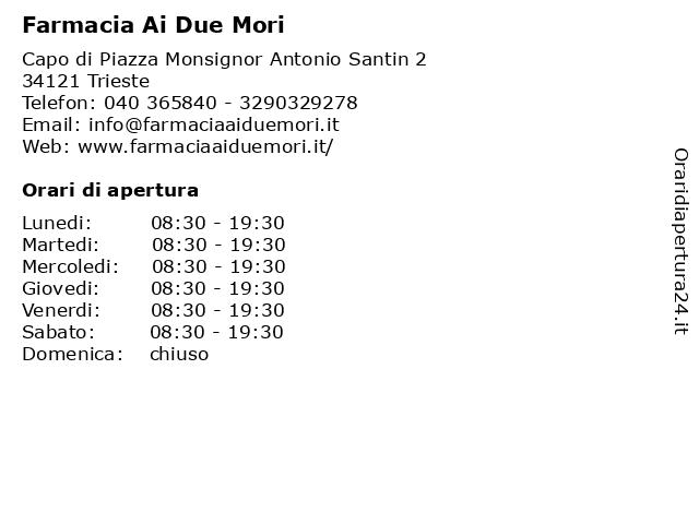 Farmacia Ai Due Mori a Trieste: indirizzo e orari di apertura