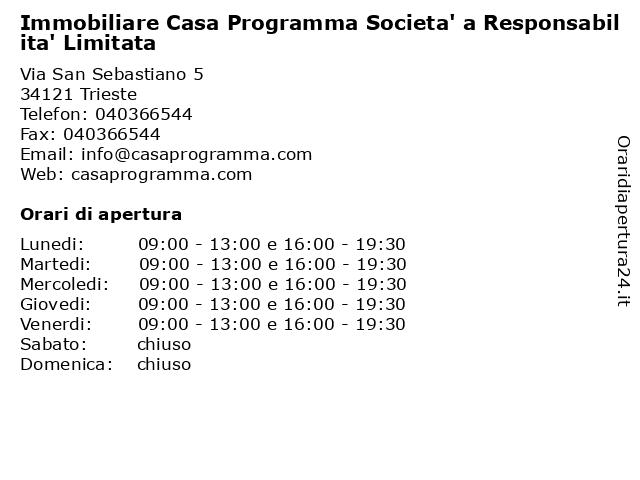 Immobiliare Casa Programma Societa' a Responsabilita' Limitata a Trieste: indirizzo e orari di apertura