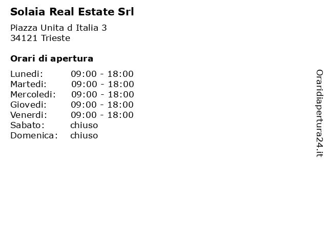 Solaia Real Estate Srl a Trieste: indirizzo e orari di apertura