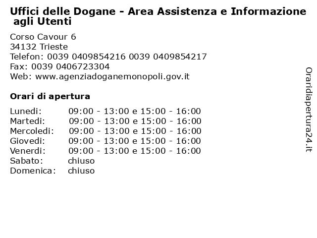 Uffici delle Dogane - Area Assistenza e Informazione agli Utenti a Trieste: indirizzo e orari di apertura