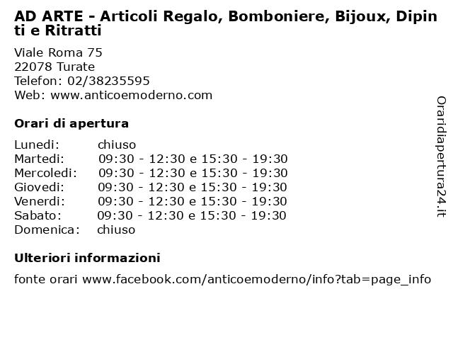 AD ARTE - Articoli Regalo, Bomboniere, Bijoux, Dipinti e Ritratti a Turate: indirizzo e orari di apertura