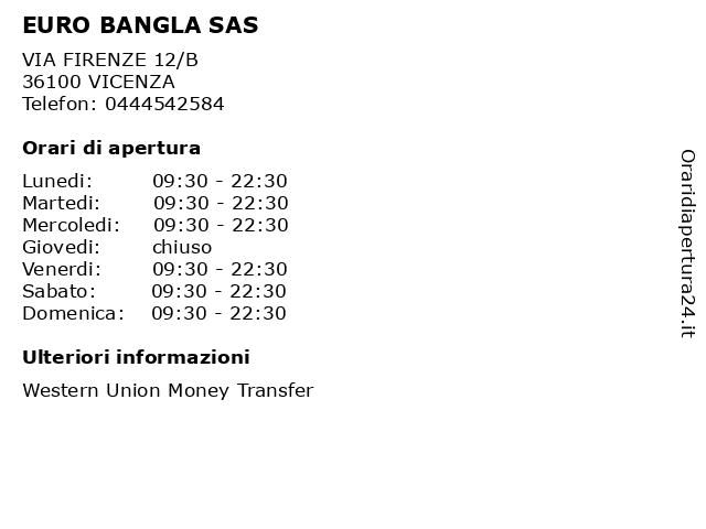 EURO BANGLA SAS a VICENZA: indirizzo e orari di apertura