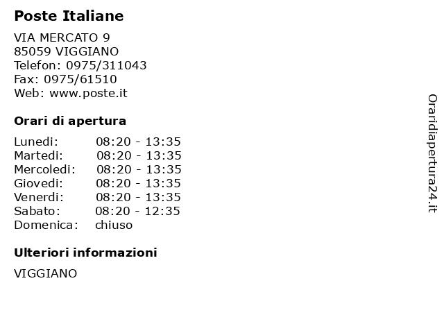 Poste Italiane a VIGGIANO: indirizzo e orari di apertura