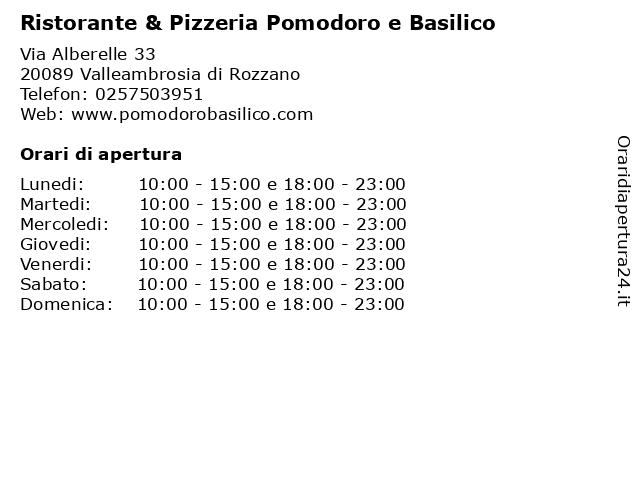 Ristorante & Pizzeria Pomodoro e Basilico a Valleambrosia di Rozzano: indirizzo e orari di apertura
