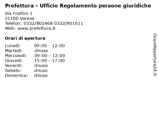 Prefettura - Ufficio Regolamento persone giuridiche a Varese: indirizzo e orari di apertura
