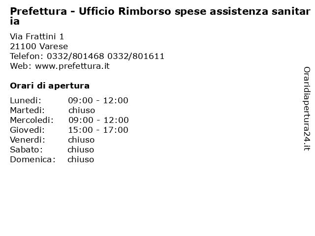 Prefettura - Ufficio Rimborso spese assistenza sanitaria a Varese: indirizzo e orari di apertura