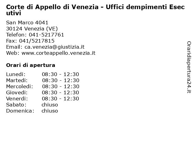 Corte di Appello di Venezia - Uffici dempimenti Esecutivi a Venezia (VE): indirizzo e orari di apertura