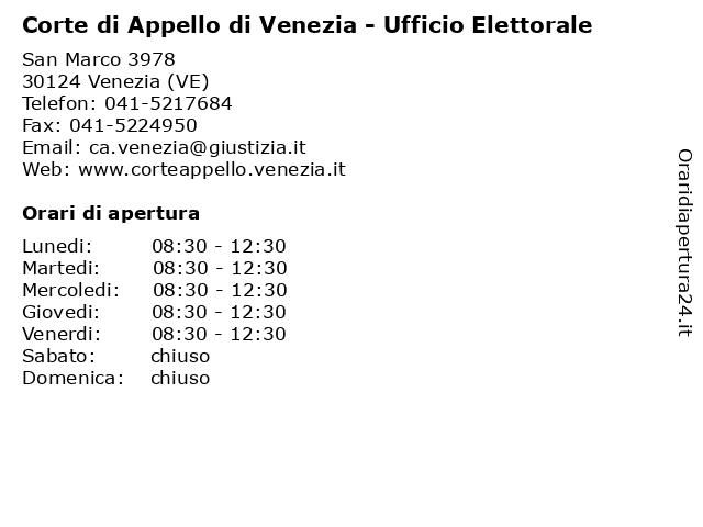 Corte di Appello di Venezia - Ufficio Elettorale a Venezia (VE): indirizzo e orari di apertura