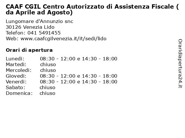 CAAF CGIL Centro Autorizzato di Assistenza Fiscale (da Aprile ad Agosto) a Venezia Lido: indirizzo e orari di apertura