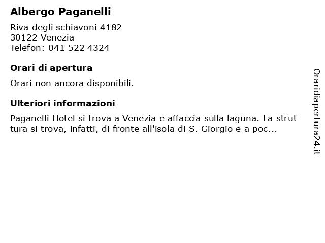 Albergo Paganelli a Venezia: indirizzo e orari di apertura