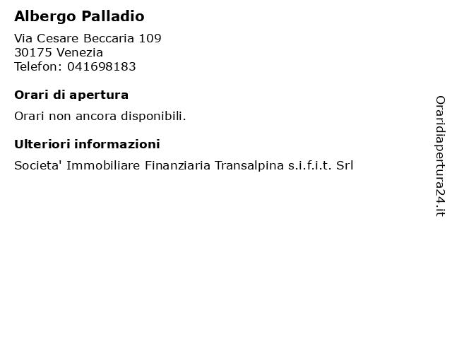 Albergo Palladio a Venezia: indirizzo e orari di apertura