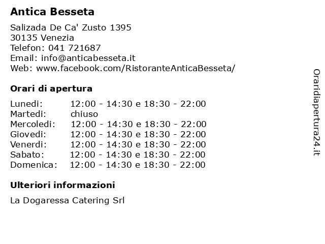 Antica Besseta a Venezia: indirizzo e orari di apertura
