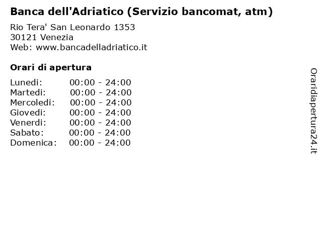 Banca dell'Adriatico (Servizio bancomat, atm) a Venezia: indirizzo e orari di apertura