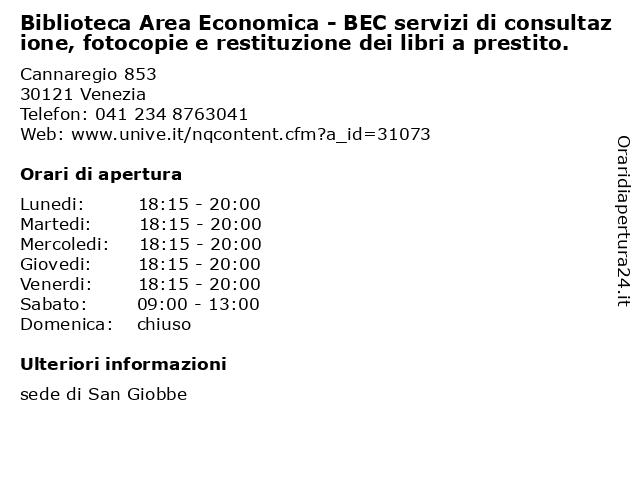 Biblioteca Area Economica - BEC servizi di consultazione, fotocopie e restituzione dei libri a prestito. a Venezia: indirizzo e orari di apertura