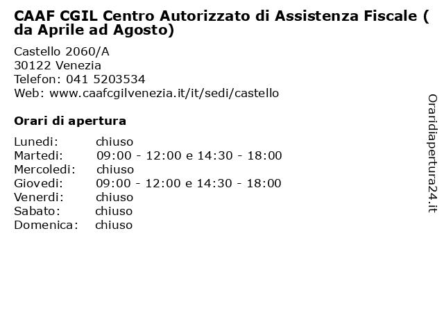 CAAF CGIL Centro Autorizzato di Assistenza Fiscale (da Aprile ad Agosto) a Venezia: indirizzo e orari di apertura