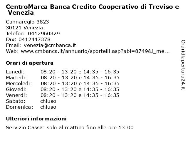 CentroMarca Banca Credito Cooperativo di Treviso e Venezia a Venezia: indirizzo e orari di apertura