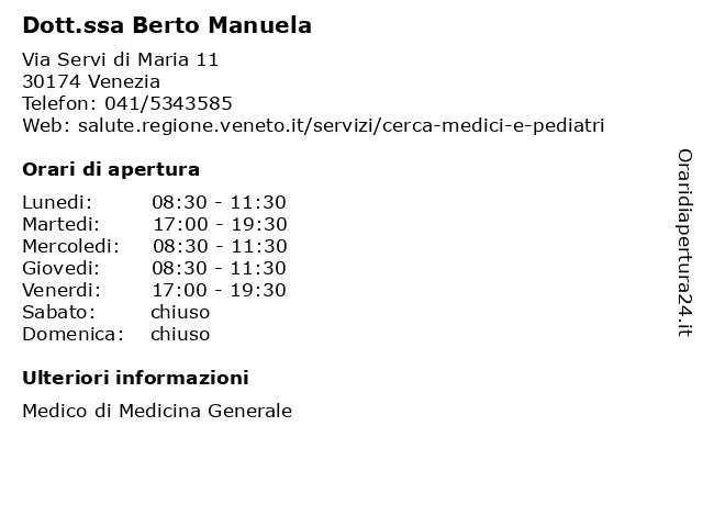 Dott.ssa Berto Manuela a Venezia: indirizzo e orari di apertura