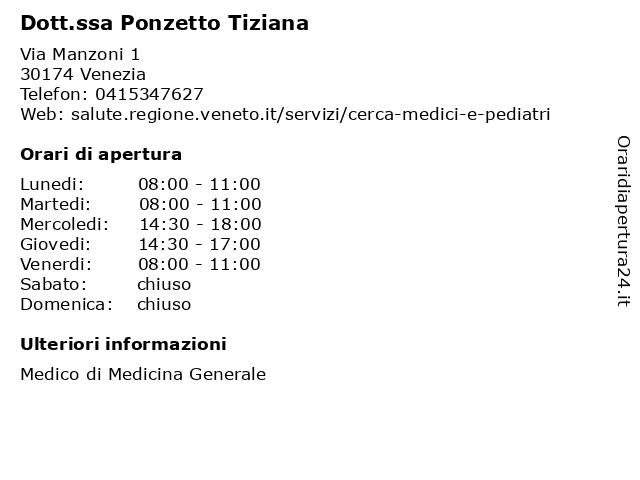 Dott.ssa Ponzetto Tiziana a Venezia: indirizzo e orari di apertura