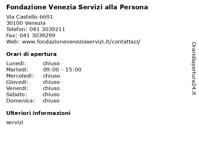 Fondazione Venezia Servizi alla Persona a Venezia: indirizzo e orari di apertura