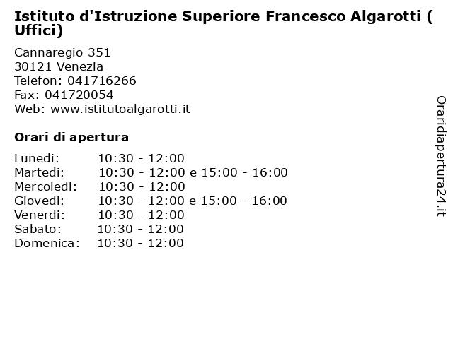 Istituto d'Istruzione Superiore Francesco Algarotti (Uffici) a Venezia: indirizzo e orari di apertura