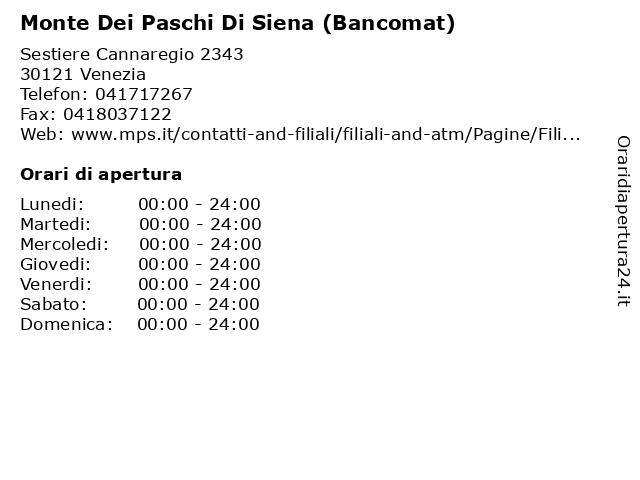 Monte Dei Paschi Di Siena (Bancomat) a Venezia: indirizzo e orari di apertura