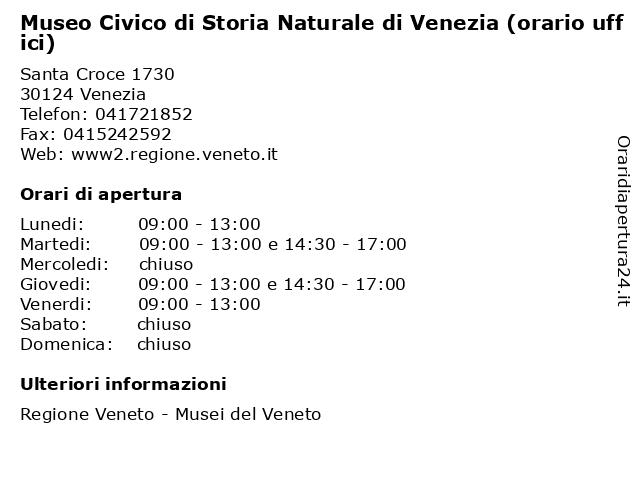 Museo Civico di Storia Naturale di Venezia (orario uffici) a Venezia: indirizzo e orari di apertura