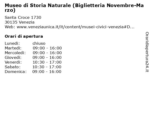 Museo di Storia Naturale (Biglietteria Novembre-Marzo) a Venezia: indirizzo e orari di apertura