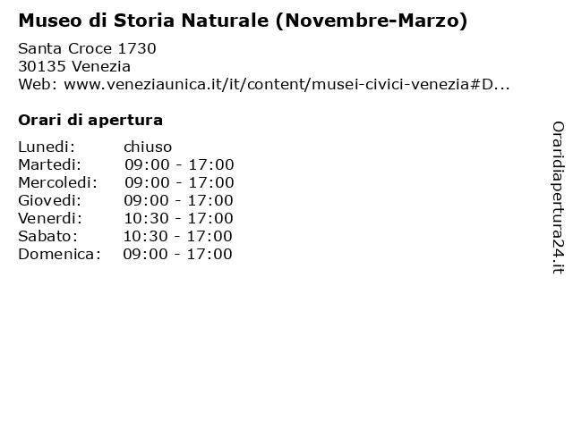Museo di Storia Naturale (Novembre-Marzo) a Venezia: indirizzo e orari di apertura