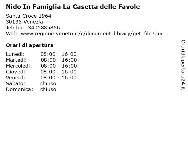 Nido In Famiglia La Casetta delle Favole a Venezia: indirizzo e orari di apertura